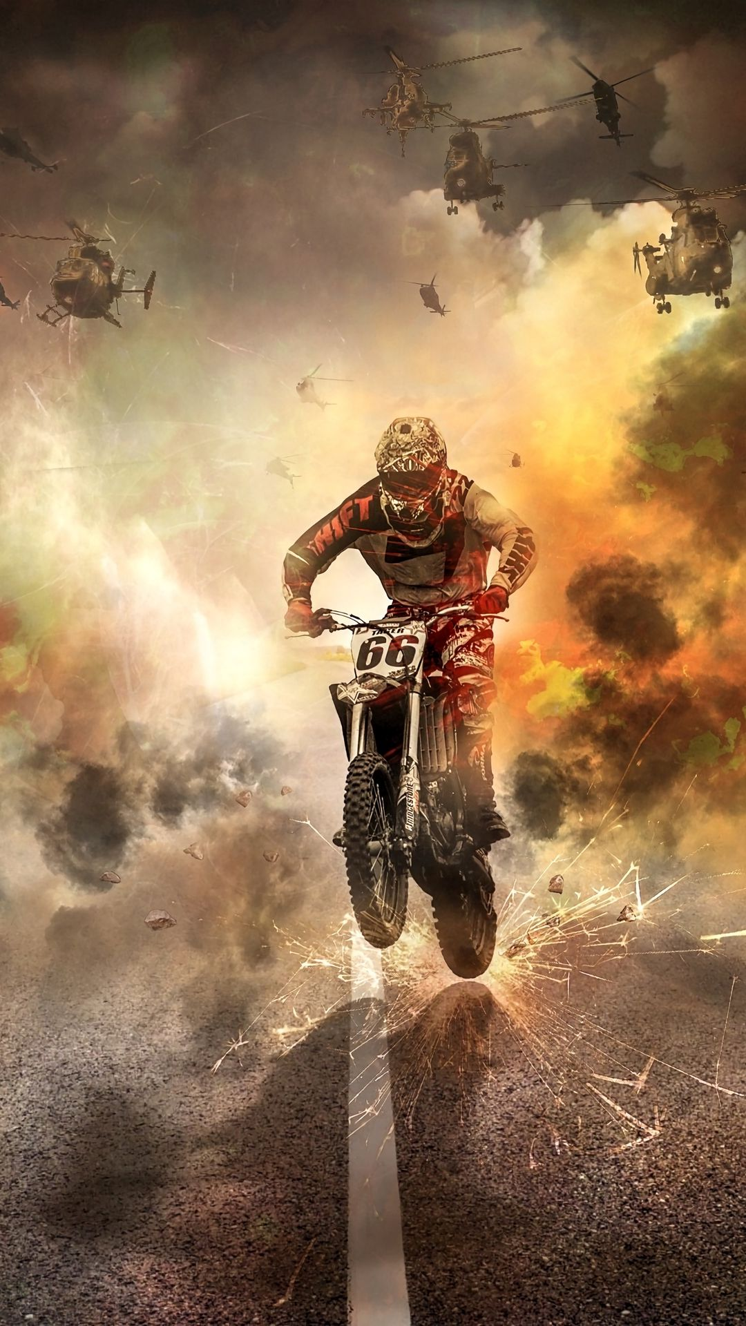 1080x1920 Wallpaper motorcyclist, motorcycle, helicopters, sparks, fire, road