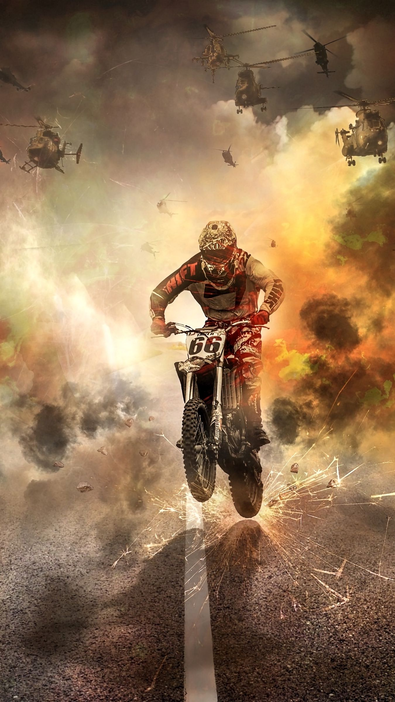 1350x2400 Wallpaper motorcyclist, motorcycle, helicopters, sparks, fire, road