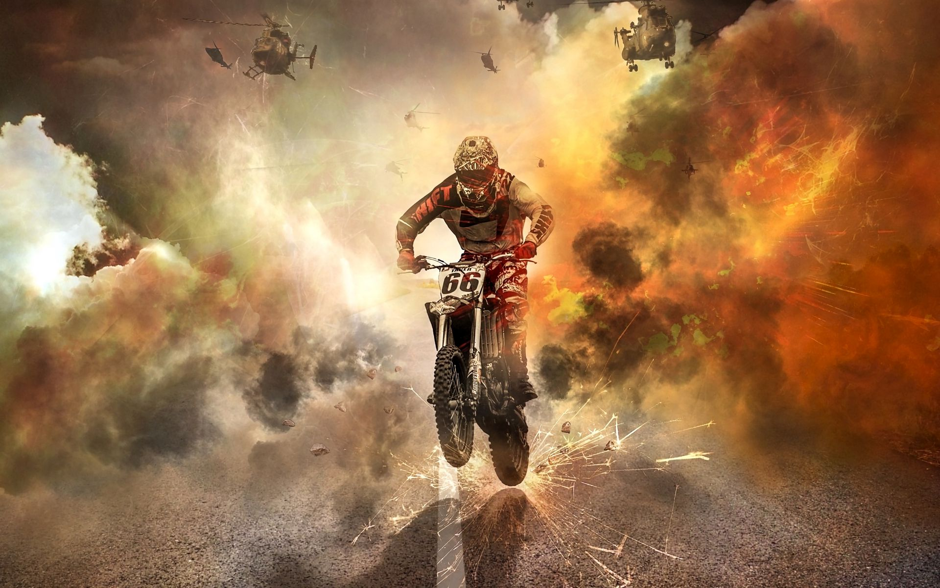 1920x1200 Wallpaper motorcyclist, motorcycle, helicopters, sparks, fire, road