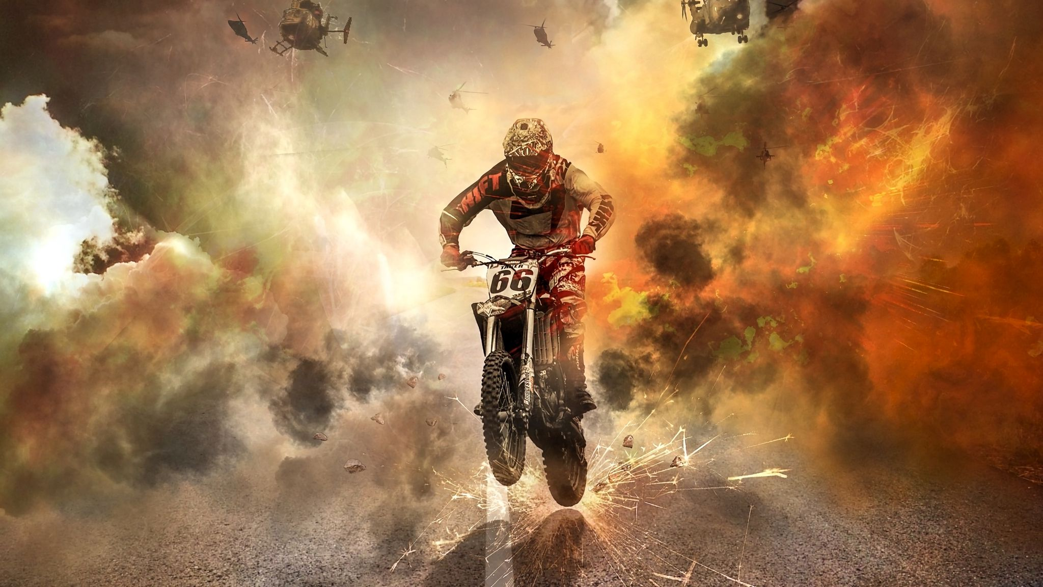 2048x1152 Wallpaper motorcyclist, motorcycle, helicopters, sparks, fire, road