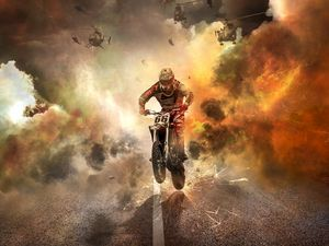 Preview wallpaper motorcyclist, motorcycle, helicopters, sparks, fire, road