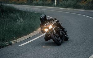 Preview wallpaper motorcyclist, motorcycle, helmet, racing, headlight, glow