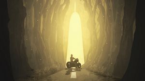 Preview wallpaper motorcyclist, silhouette, art, forest, fantastic, wolf, muzzle