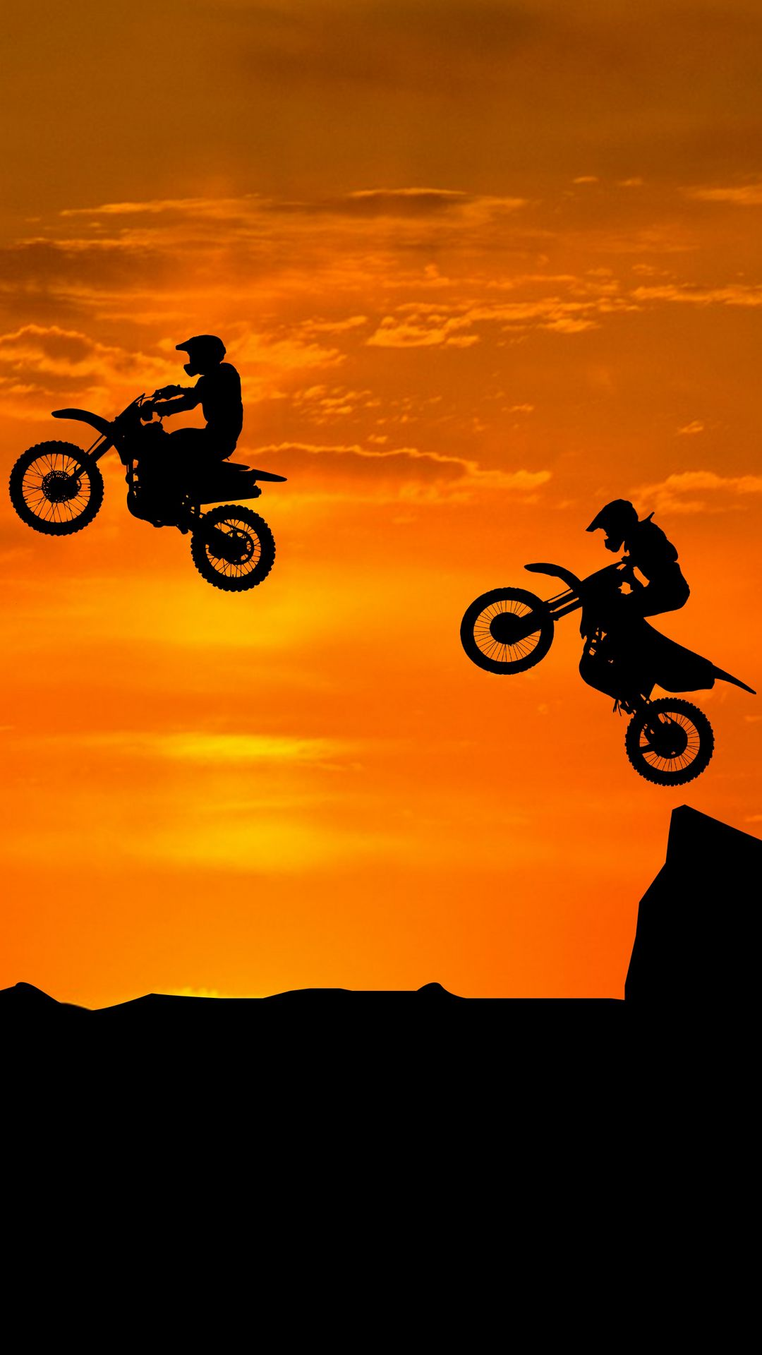 1080x1920 Wallpaper motorcyclist, silhouettes, trick, hill