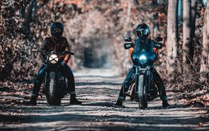 Preview wallpaper motorcyclists, bikers, bike, motorcycle, forest, road