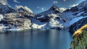 Preview wallpaper mountain, lake, peaks, snow
