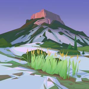 Preview wallpaper mountain, landscape, art, vector
