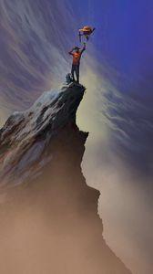 Preview wallpaper mountain, peak, silhouette, victory, art