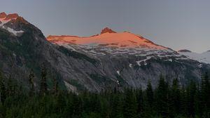 Preview wallpaper mountain, peak, snow, trees, nature, twilight