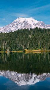 Preview wallpaper mountain, peak, snow, trees, lake, landscape