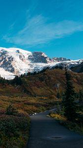 Preview wallpaper mountain, peak, snow, path, landscape, nature