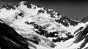 Preview wallpaper mountain, peaks, snow, black and white