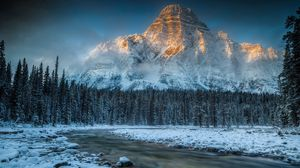 Preview wallpaper mountain, river, snow, nature