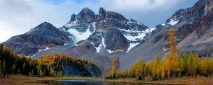 Preview wallpaper mountain, river, snow, winter