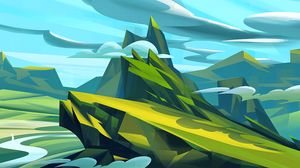 Preview wallpaper mountains, art, clouds, landscape, green, blue