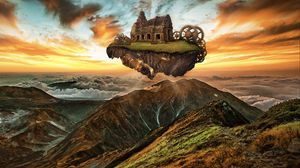 Preview wallpaper mountains, building, engine, gears, steampunk, imagination, photoshop