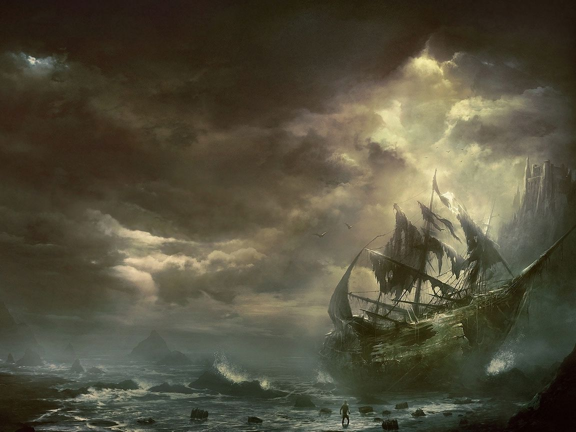 1152x864 Wallpaper mountains, clouds, sea, ship, sailboat, destroyed