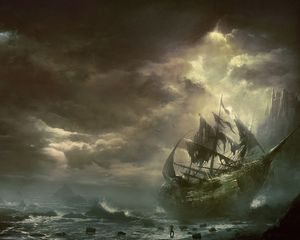 Preview wallpaper mountains, clouds, sea, ship, sailboat, destroyed