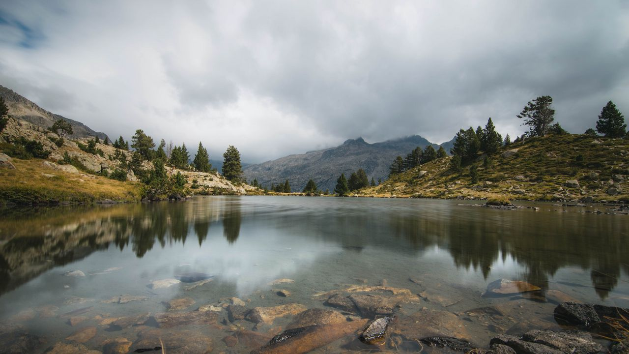 Wallpapermountains,clouds,trees,lake,nature高清壁纸免费下载