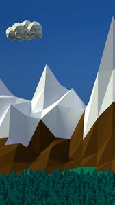 Preview wallpaper mountains, clouds, volume, vector, art, 3d