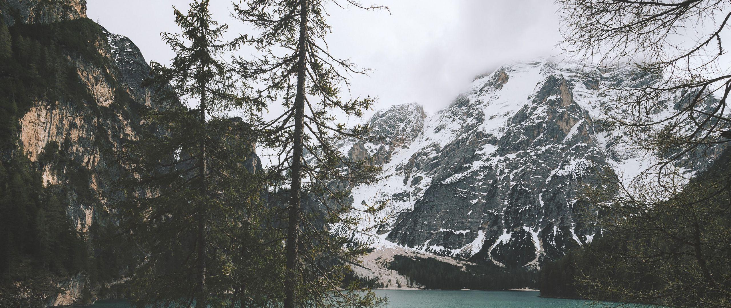 2560x1080 Wallpaper mountains, coast, peace