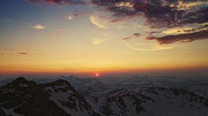 Preview wallpaper mountains, cordillera, sky, sunset, sun, clouds