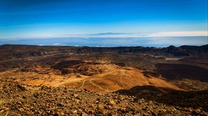 Preview wallpaper mountains, crater, volcanic, stones, landscape