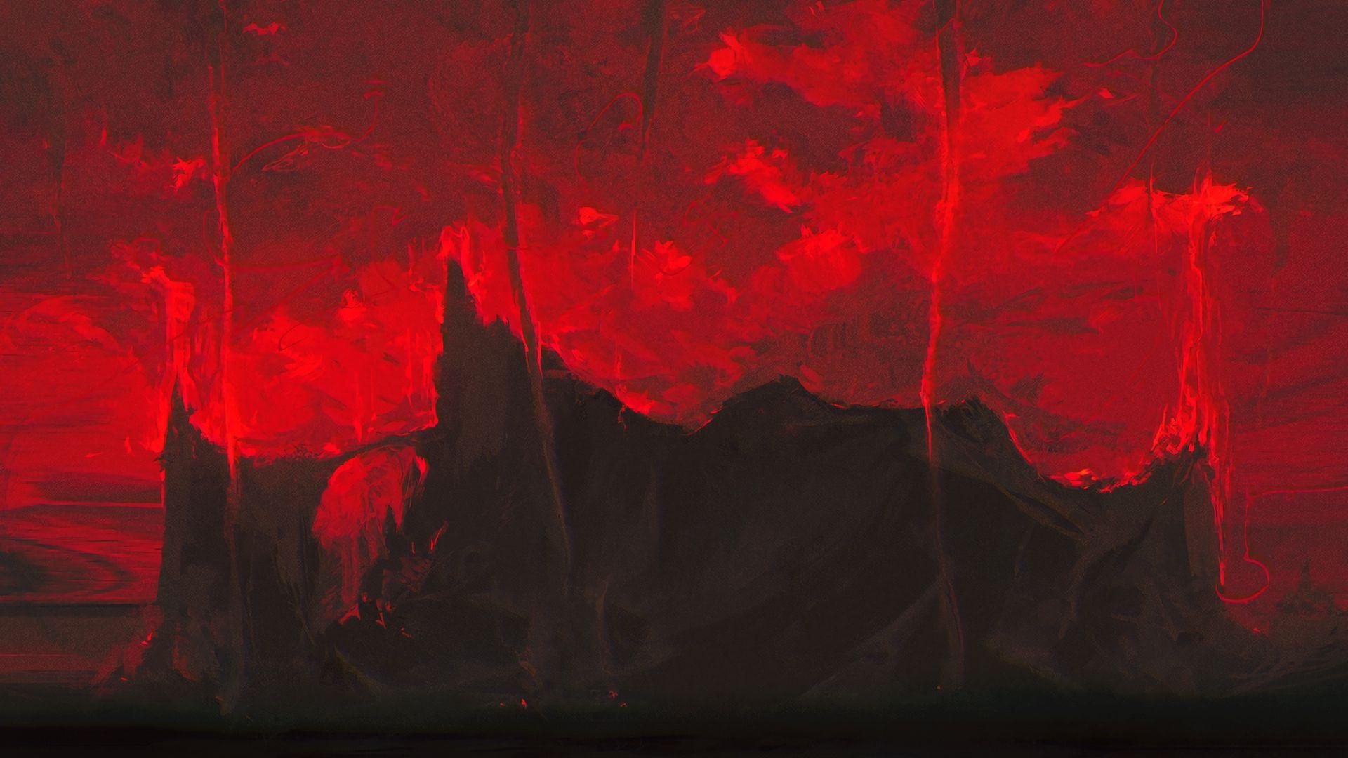 1920x1080 Wallpaper mountains, dark, art, red, black