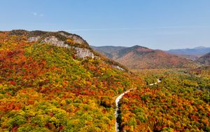 Preview wallpaper mountains, forest, road, autumn, aerial view