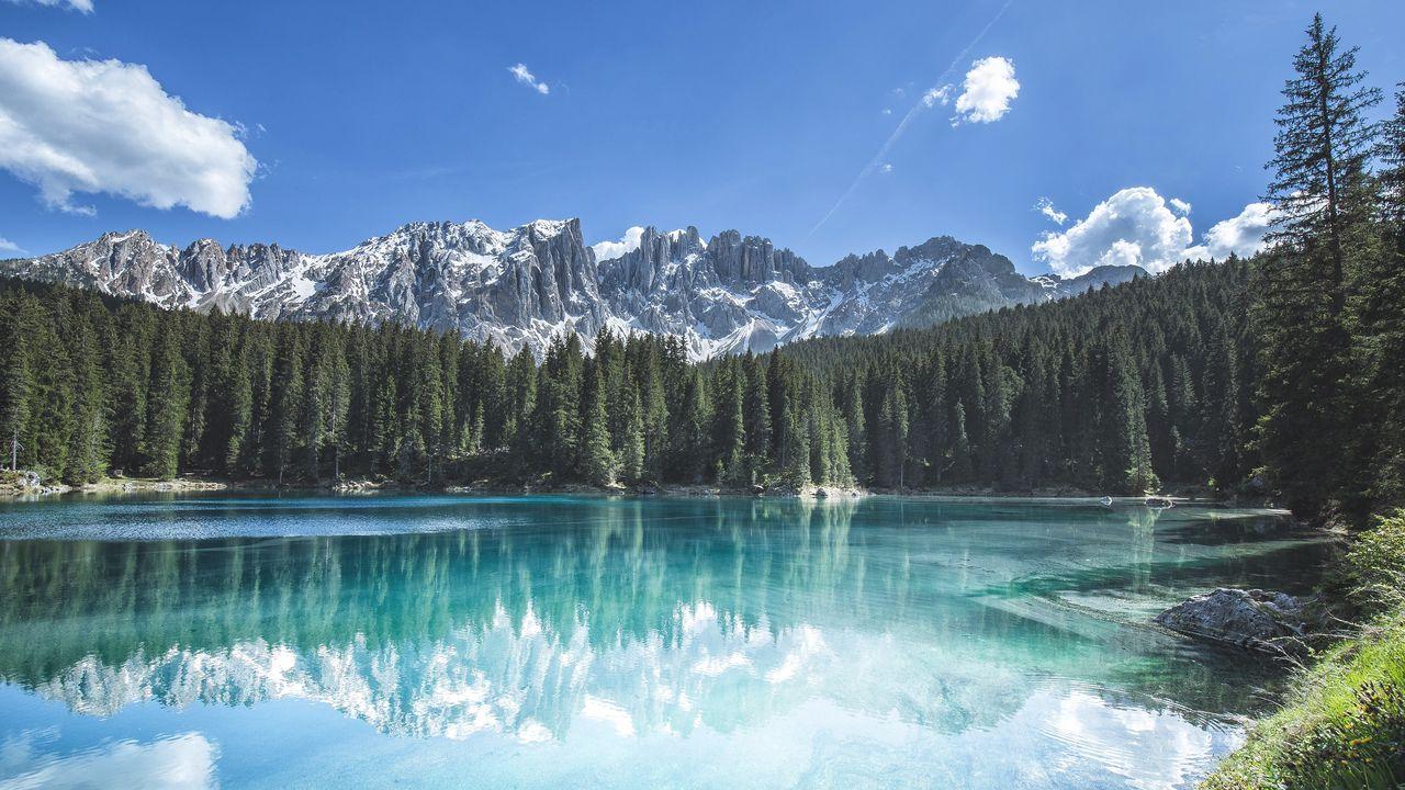 山,林,树,湖,倒影,风景高清壁纸免费下载