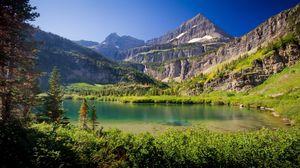 Preview wallpaper mountains, lake, grass, sky, summer