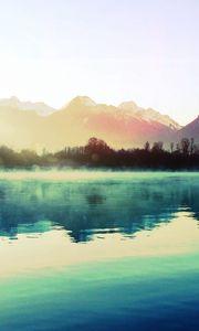 Preview wallpaper mountains, lake, haze, morning, cool, dawn, steam, boat