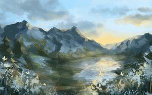 Preview wallpaper mountains, lake, landscape, art