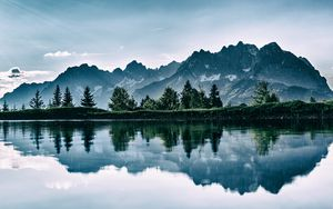 Preview wallpaper mountains, lake, photoshop, reflection