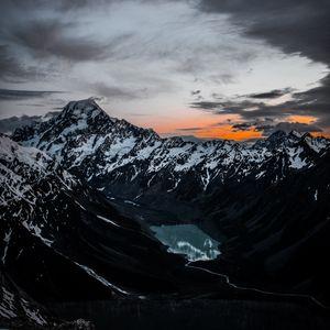 Preview wallpaper mountains, lake, tops, top view