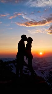 Preview wallpaper mountains, love, sky, he, she, kiss