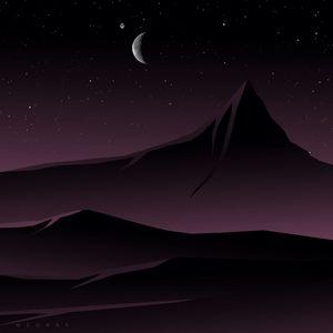 Preview wallpaper mountains, moon, night, vector, art