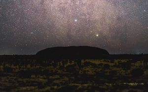 Preview wallpaper mountains, night, stars, starry sky, nebula