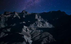 Preview wallpaper mountains, night, stars, dark