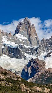 Preview wallpaper mountains, peak, snow, clouds, nature, landscape