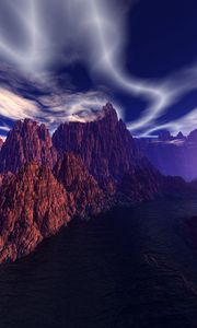 Preview wallpaper mountains, photoshop, river, sky