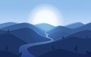 Preview wallpaper mountains, river, sun, landscape, vector, art