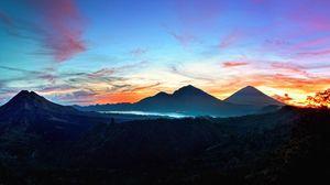Preview wallpaper mountains, sky, bali, sunrise, kintamani, indonesia