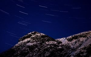 Preview wallpaper mountains, stars, night, rotation, long exposure