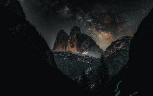 Preview wallpaper mountains, stars, night, landscape, dark