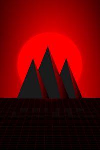 Preview wallpaper mountains, sun, vector, art, red