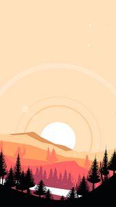 Preview wallpaper mountains, sunset, art, vector, landscape