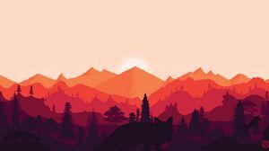 Preview wallpaper mountains, sunset, landscape, fox, art, vector