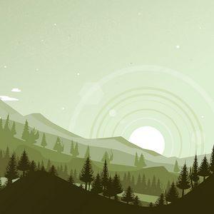 Preview wallpaper mountains, sunset, landscape, vector