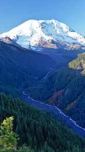 Preview wallpaper mountains, trees, stream, aerial view, landscape